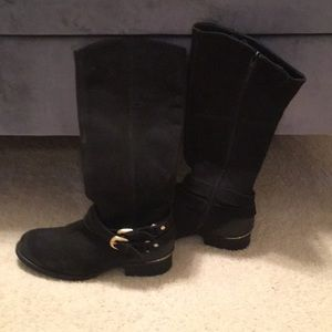 Steve Madden Black/Gold Knee High Boots